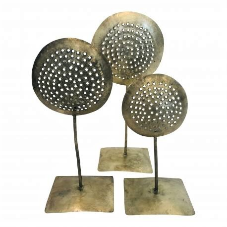 Teelichthalter Teelichtständer Kerzenständer Gold Bronze Blech Modern Industrie Stil 42 cm