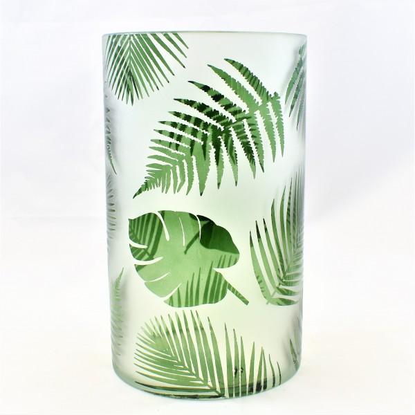 Windlicht Teelicht Glas Dschungel Botanik 20 x 12 cm marsmore