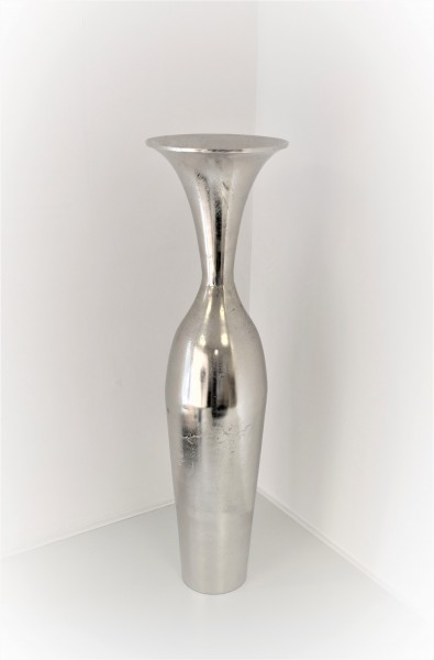 Bodenvase Vase Deko Silber Blumen Metall Modern Colmore 73 cm