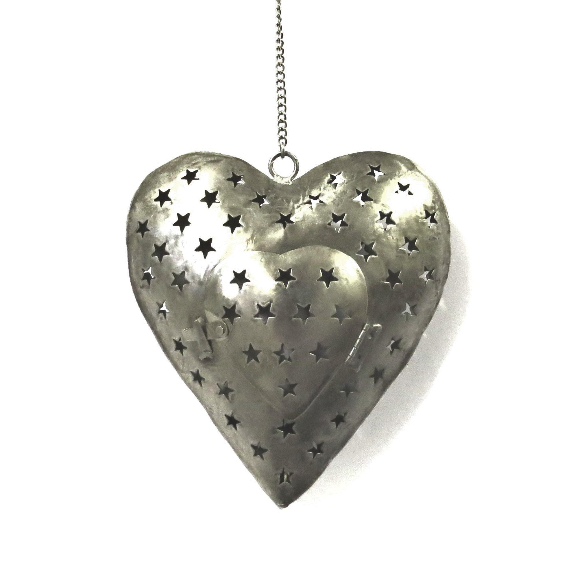 Herz,Herzhänger,antik,Metall,Teelichthänger,Teelicht,