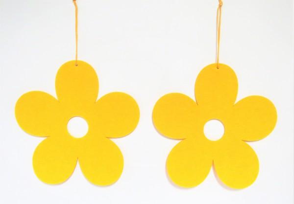 Filz Blumen Deko Fenster Ostern Gelb Hippie 2er Set 30 cm