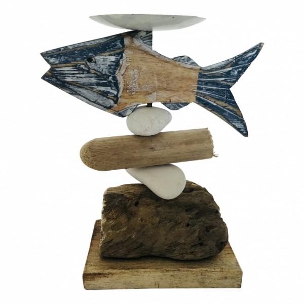 Teelichthalter Fisch Maritim Holz Metall Handgefertigt 15 cm Varios