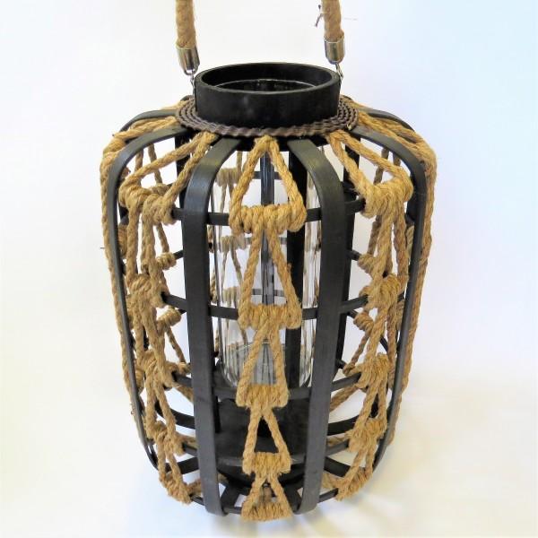 Bambus Laterne Schwarz Glas Hanfseil 29 X 29 X 43 Cm Wind
