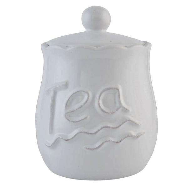 Teedose Clayre & Eef Vorratsgefäß Keramik weiß 1 Liter 12x17 cm