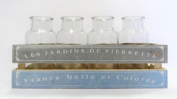 Vase Vasentablett Vasenregal Tischdeko Glas Holz Scheulen Shabby 14 x 30 cm