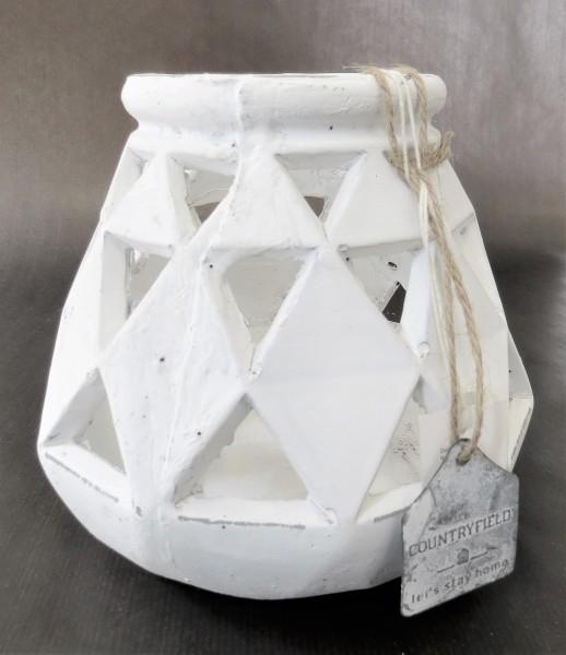 Windlicht Teelicht weiß antik shabby 17 x 17 cm