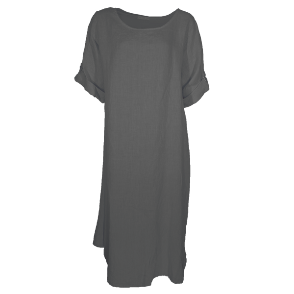 Kleid Tunika Leinen Anthrazit Größe XL - XXL Übergröße