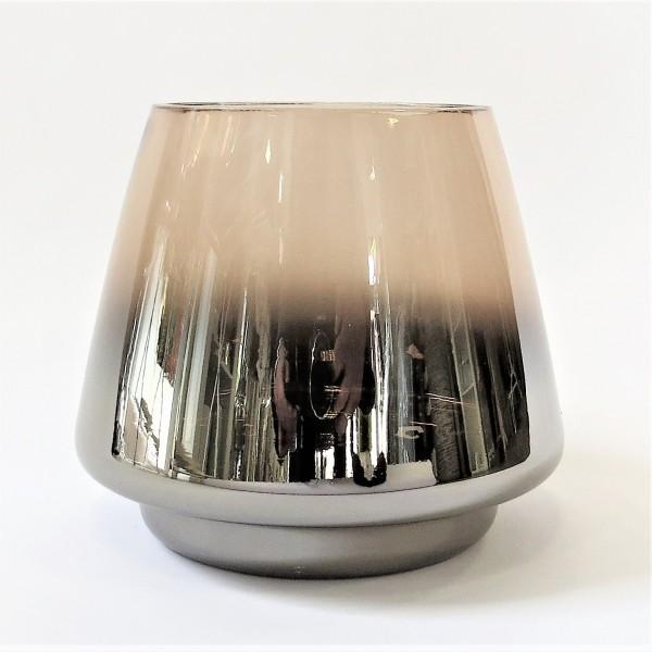 Windlicht Teelicht Kerzenständer Glas Vase braun metallic 13,5 Cor Mulder