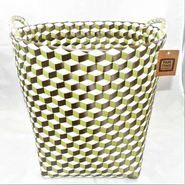 Korb Wäschekorb Dekokorb Kunststoffgeflecht weiß grün 36 x 36 cm