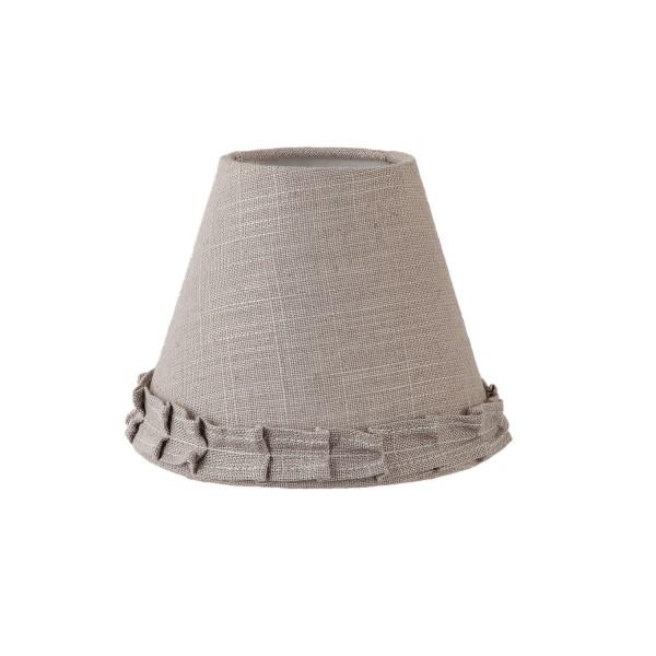 Lampenschirm Grau Landhaus XS Stoff Rüschen Clayre & Eef 15x12 cm E27 6LAK0384