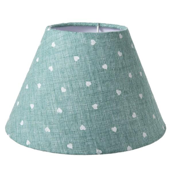 Lampenschirm Herzen hellgrün Stoff 22 x 14 Clayre & Eef 6LAK0413 E27