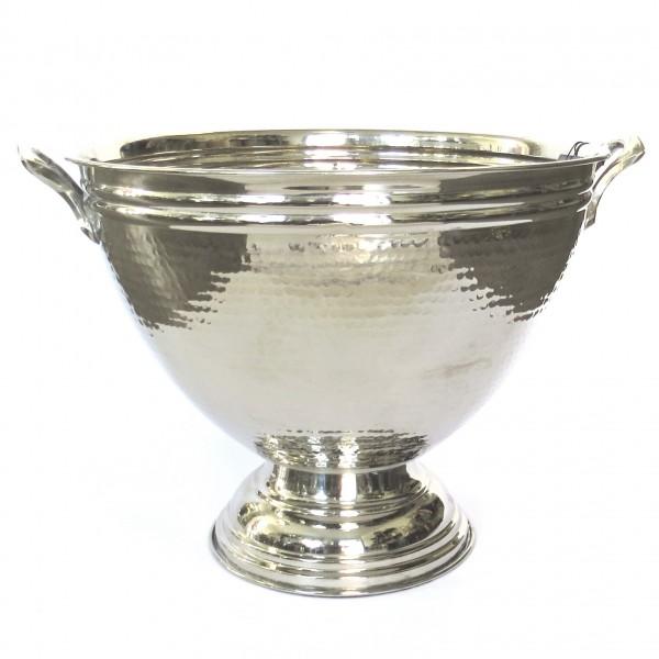Sektkühler Eiseimer Champagne Schale mit Griffen Messing Gehämmert XL Colmore Silber