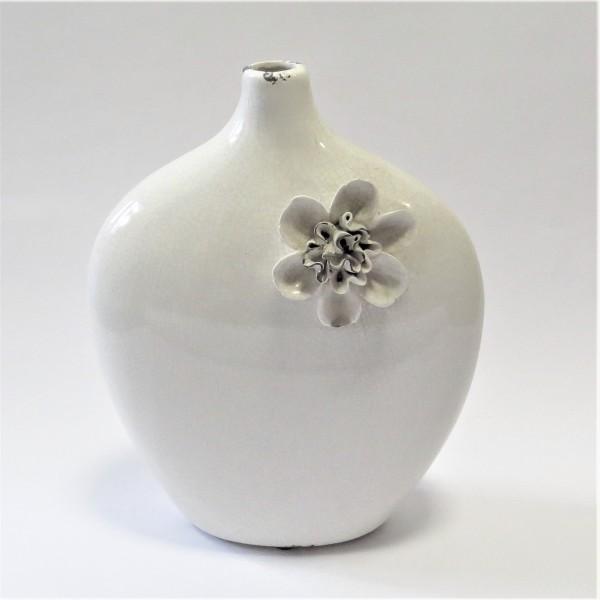 Vase Deko Tisch Naturweis Ton Blumen Shabby Antik Stil Flach