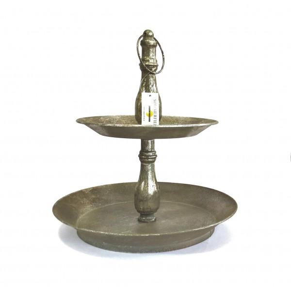 Etagere Gestell Silber Deko Shabby Metall Antik Blumen 37 cm
