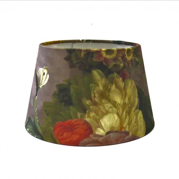 Lampenschirm Blumen Samt Muster Floral Bunt Modern Colmore Halbhoch 20x15x12 cm