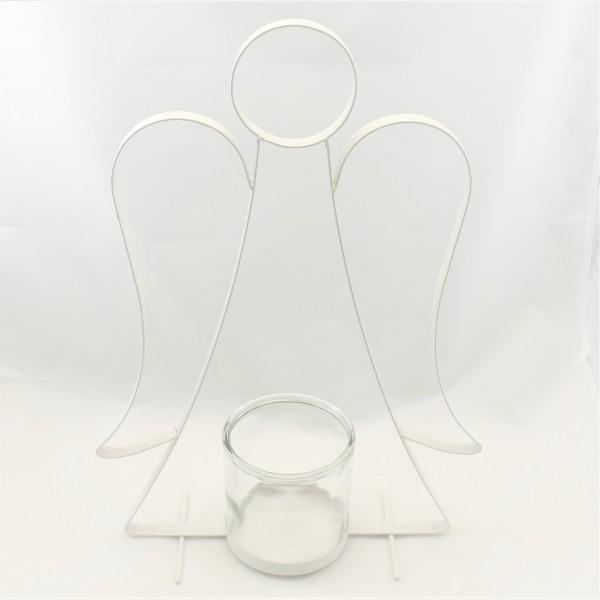 Windlicht Teelicht Engel Glas Metall weiß 50 x 33 cm