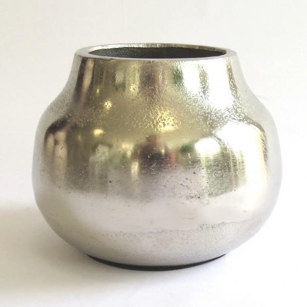 Vase Deko Blumen Metall Silber Rund Tisch Mini Colmore 14x14x11 cm