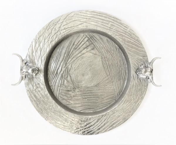 Schale Servierplatte Teller Bullenkopf silber rund Colmore 55 x 49 x 8 cm