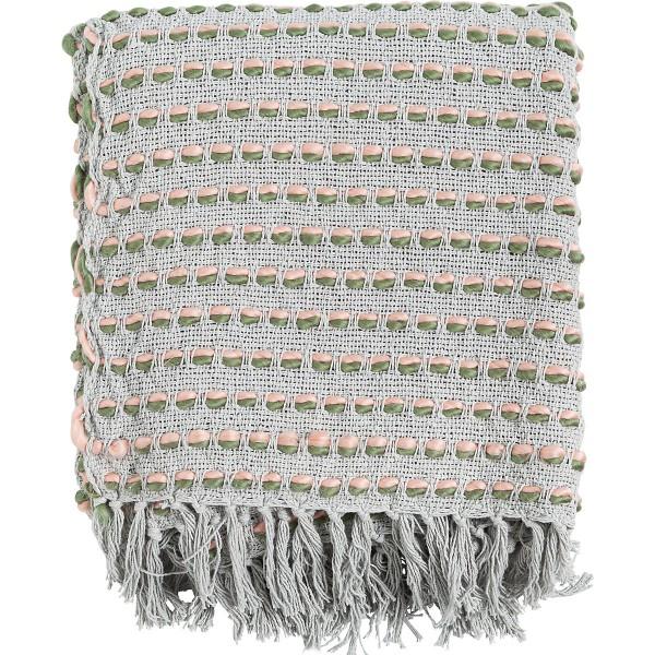 Decke Plaid Wohn Sofa Sommer Franzen Linen & More Grau Rosa Grün 125 x 150 cm