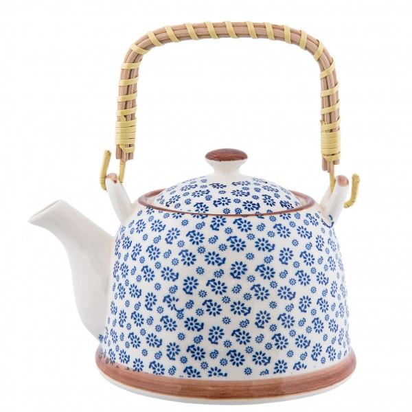 Teekanne Kanne Retro Design Clayre & Eef Blumenmuster Keramik 14 x 14 cm