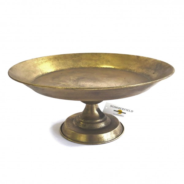 Schale Teller Deko Gold Metall Garten Tisch Sommerfield 33 cm