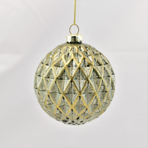 6 x Christbaumkugel Weihnachtsschmuck X-mass hanger ball green/gold S/6 glass 8 cm