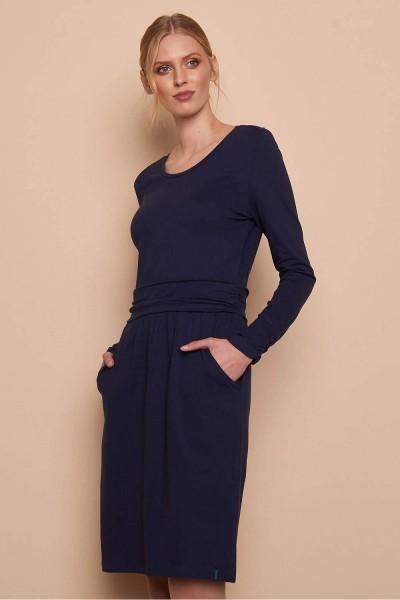 Kleid Midi Langarm Blau Bio Mode Baumwolle Tranquillo Elasthan Jersey XL
