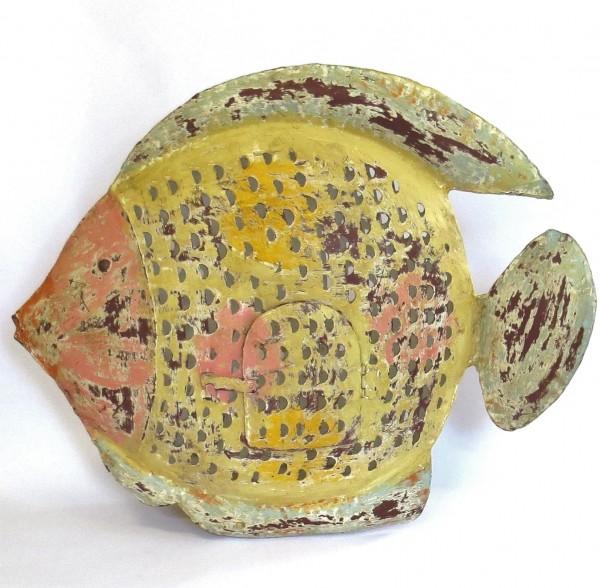 Metall Fisch Deko Teelichthalter Kerzenständer XL Bunt Handarbeit Shabby Antik Stil