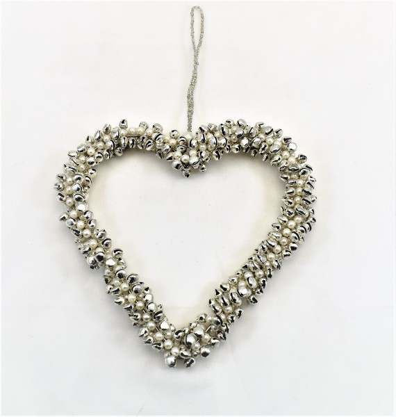 Herz Deko Hänger Silber Perlen Rasselherz bell arte 14 x 14 x 2,5 cm Weihnachten
