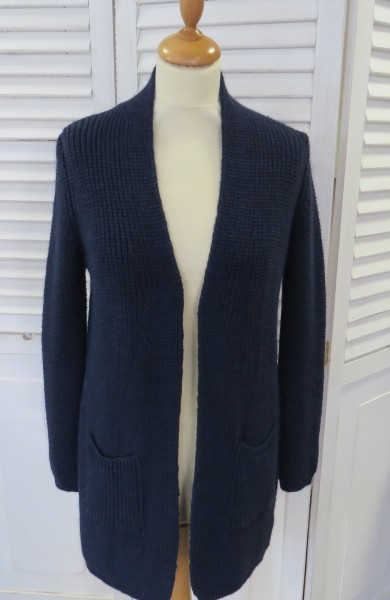 Strickjacke lang blau M / L Made in Italy Lana Wolle Alpaka