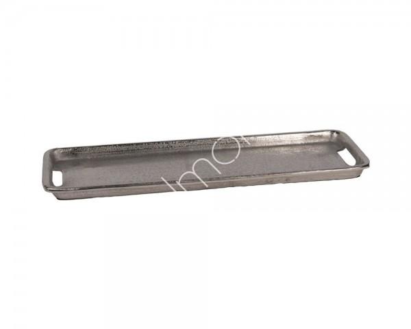 Tablett Teller Schale Platte Länglich Deko Kerzen Retro Metall Silber Colmore 60 cm