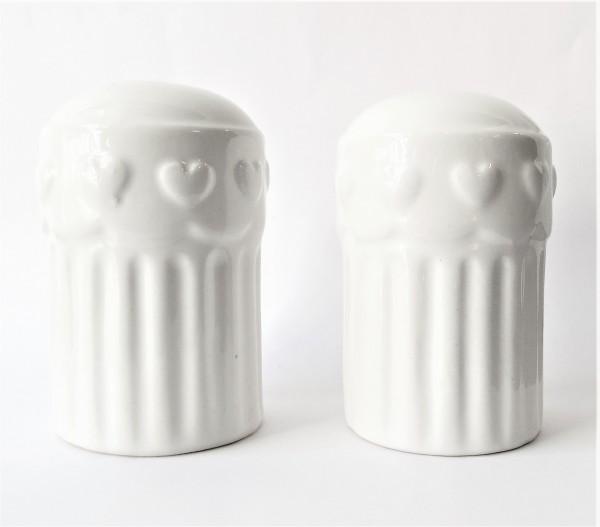 Clayre & Eef Pfefferstreuer Salzstreuer Menage 5 x 7 cm Keramik weiß SET 6CE0322