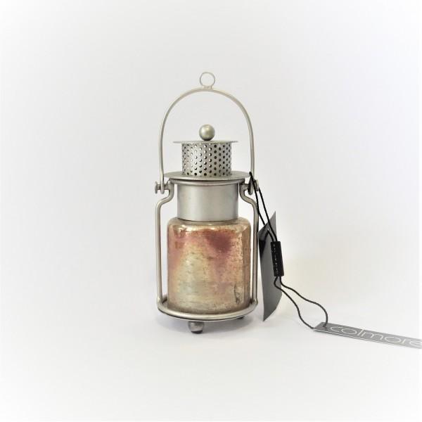 Laterne Teelicht Windlicht Mini Tisch Deko Silber Gold Metall Glas Colmore 14 cm