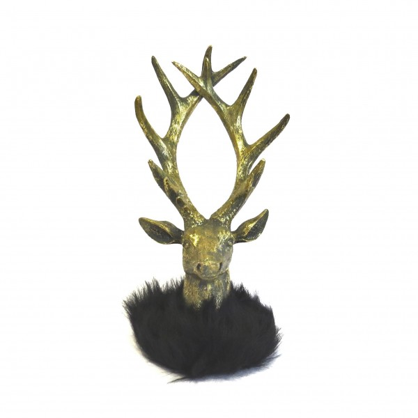 Deko Hirsch Kopf Skulptur Figur Gold Schwarz Weihnachten Cor Mulder 27 cm