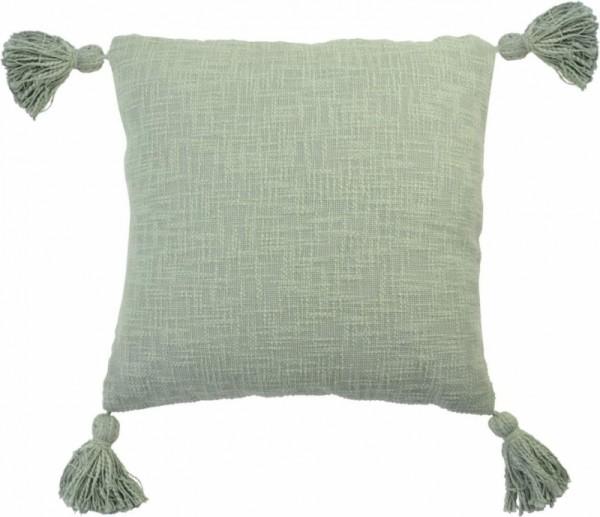 Kissen Deko Zier Sofa Olive Grün Pompons Baumwolle 45x45 cm