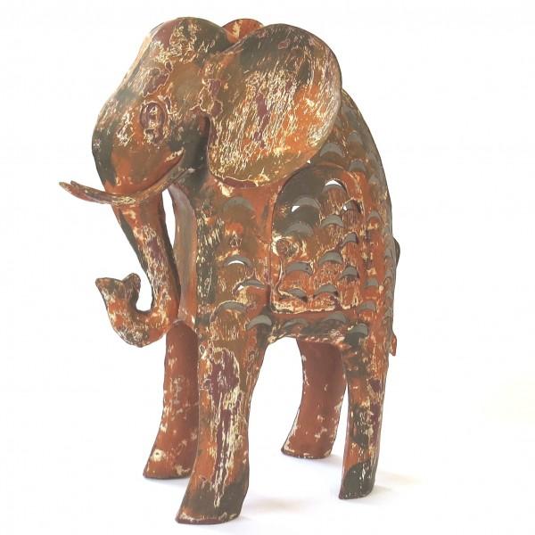 Deko Teelicht Elefant XL Metall Braun Modern bell arte 40 cm
