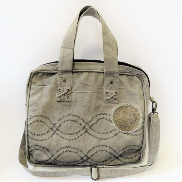 Tasche Umhängetasche Damentasche Shopper grau Baumwolle 40 x 40 cm