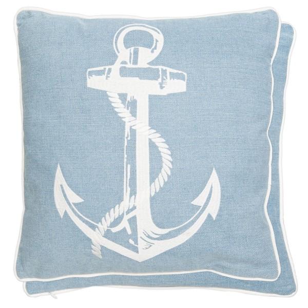 Kissen Dekokissen Sofakissen weiß Blau Maritim Anker 45 x 45 cm Clayre & Eef