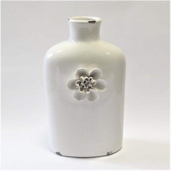 Vase Deko Tisch Naturweiß Ton Shabby Antik Stil Blumen 41 cm