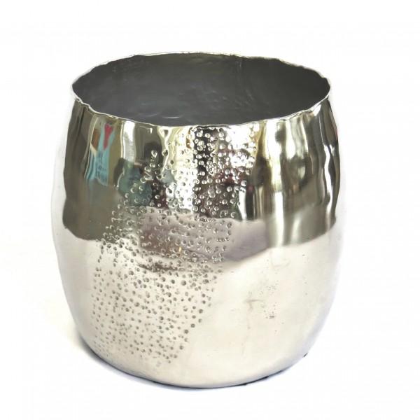 Vase Deko Silber Metall Modern Gehämmert Colmore 24 cm Rund