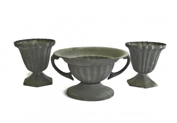 Zink Topf 3er Set XS Tisch Deko Shabby Grau Antik