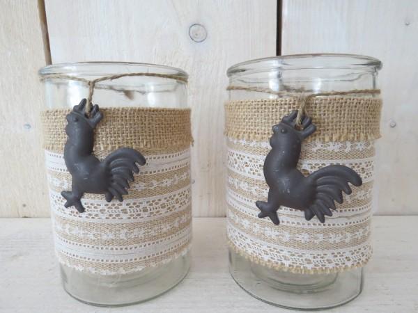 2er Set Windlicht Dekoglas Teelichtglas mit Jutestoff und Hahn 15 x 10 cm Clayre & Eef