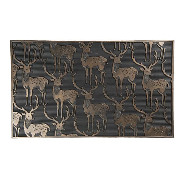 Fußmatte Matte Tür Eingang Fuß Abstreifer Läufer Hirsch Schwarz Bronze Modern Clayre&Eef