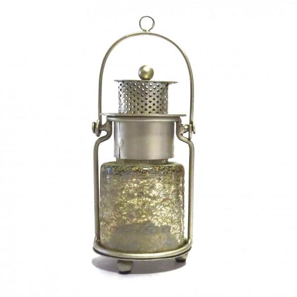 Laterne XS Teelicht Windlicht Tisch Hänger Silber Gold Metall Glas Colmore
