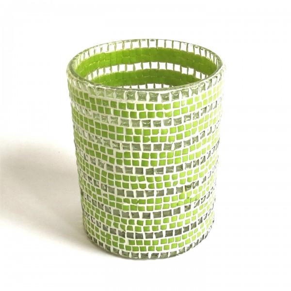 Windlicht Teelicht Mosaik Glas grün weiß Colmore 10 x 13 cm 0,6kg