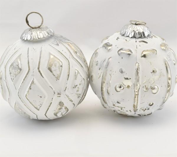 Weihnachtskugeln Weiß Silber.Weihnachtskugeln Christbaumschmuck 2er Set Weihnachten Weiß Silber 10 Cm