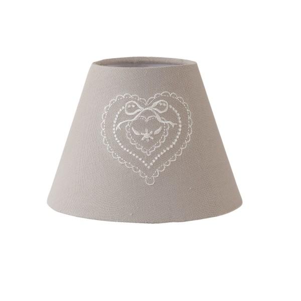 Lampenschirm Leuchtenschirm Grau Herz Landhaus Clayre & Eef Stickerei 6LAK0386 E27