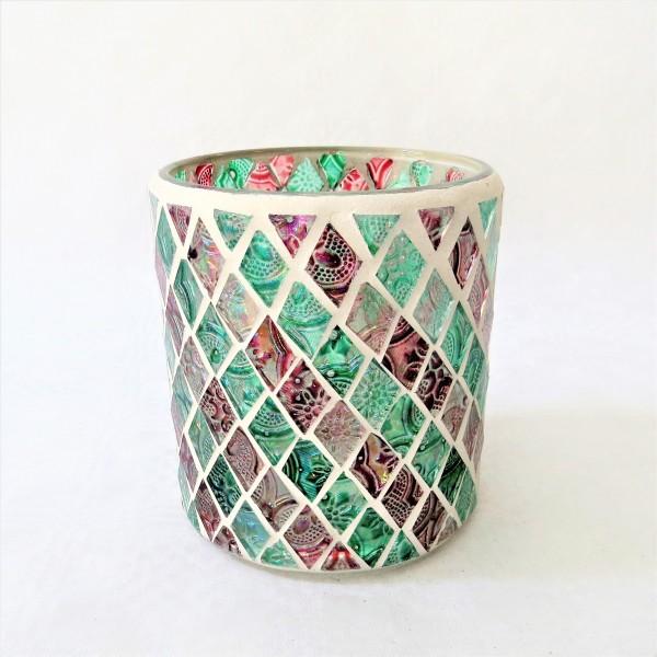 Windlicht Teelicht Mosaik Zylinderwindlicht Boho 10 x 9 cm Glas Goldbach