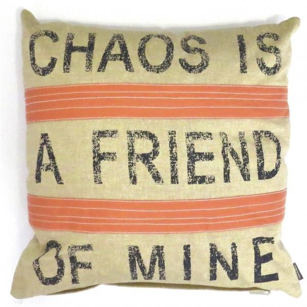 Kissen 2er Set Zier Sofa Deko Chaos Gag Linen & More Beige Orange 45x45 cm