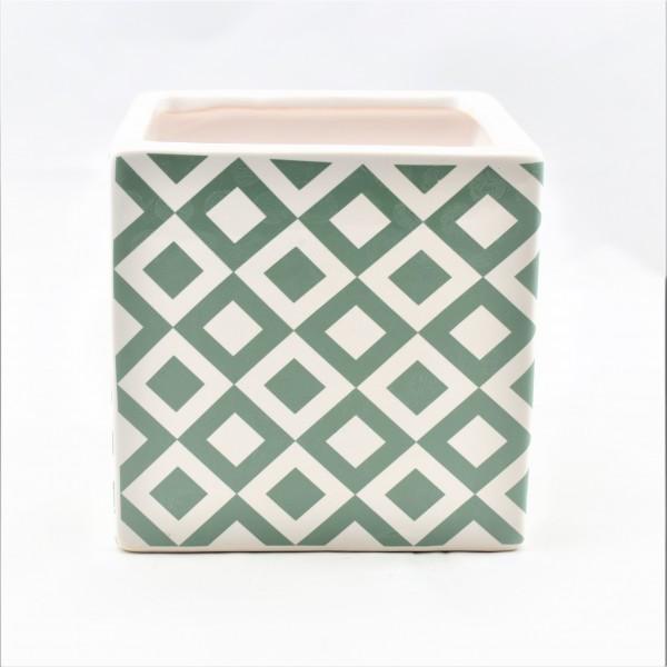 Übertopf Blumentopf Pflanzentopf Keramik Grün Weiß Retro Design Quadratisch